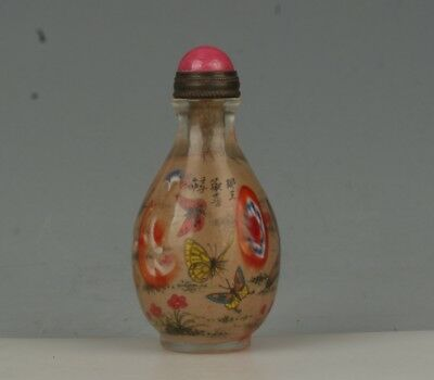 Chinese Exquisite Handmade Inside painting Butterfly pattern Glass snuff bottle