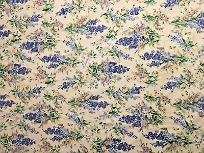 Laura Ashley Vintage Rectangular Lilac Floral Tablecloth Cotton 66 x 50 inches