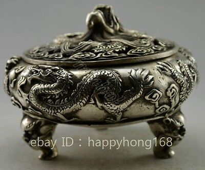 chinese Old copper plating silver Carved Dragon Incense Burner d02