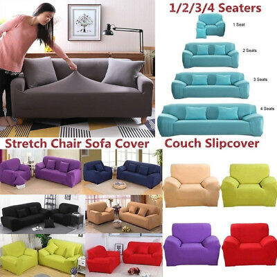 1/2/3/4 Seater Elastic Slipcover Stretch Chair Sofa Covers Couch Protector Cover