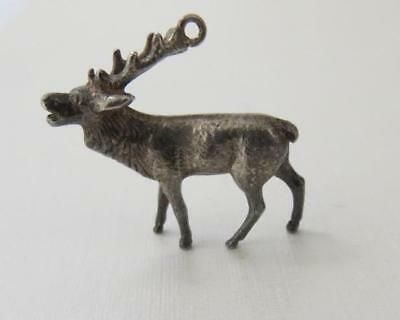 Vintage Sterling Silver English RED STAG DEER Charm