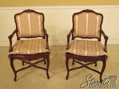 29009E: Pair French Louis XV Style Open Arm Fauteuil Chairs
