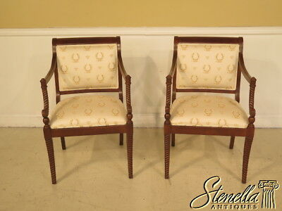 38567E: Pair Of Regency Style Decorator Open Arm Occasional Chairs