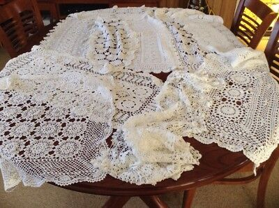 Vintage White Chrochet Large Table Runners Used.lot 7