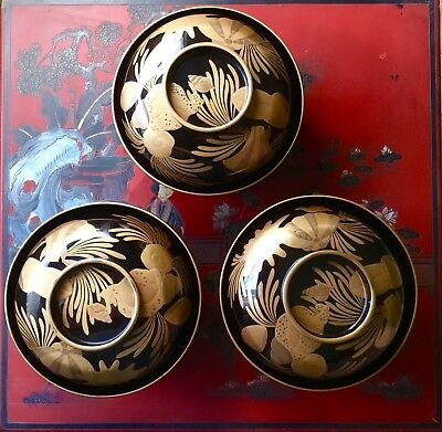 Set Of 3 Superior Vintage Japanese Covered Lacquer Rice/Soup Bowls