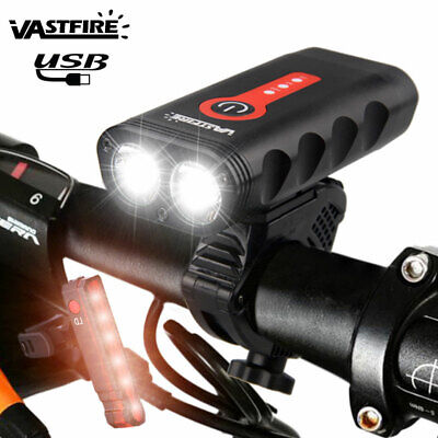 USB Rechargeable 2x XM-L2 LED Bicycle Front Light Mountain Bike Head Rear Lamp H