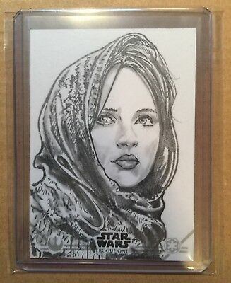 2016 Topps Star Wars Rogue One Jyn Erso Sketch Card 1/1 Dan Cooney Auto RARE