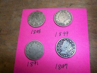 barber  5 cent coins  4 of them 1898,97,99,91