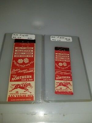 2 Vintage Matchbook Covers The Northern Club Bar And Casino Las Vegas Fremont