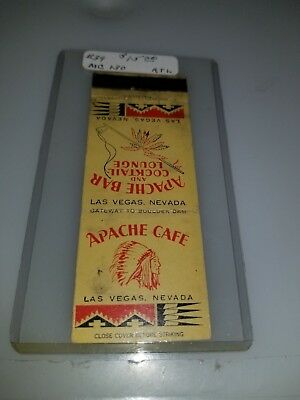 Vintage Matchbook Cover  Apache Cafe Bar And Cocktail Lounge Las Vegas Nevada