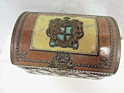 Antique Tea Caddy Kaddy Tin Coat of Arms Made in Western Germany Domed Lid