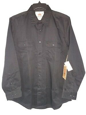 Dakota Grizzly Mens L Large Black Button Front Shirt Long Sleeve Cotton Poly NEW