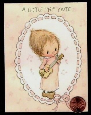 Vintage Hallmark Betsey Clark Playing a Guitar Small Note Greeting Card - NEW