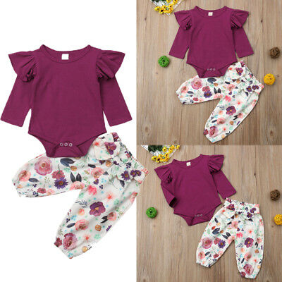 AU Stock Cute Newborn Baby Girls Tops Romper Floral Pants Outfits Set Clothes