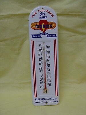 MOEWS Maize Corn Belt Hybrids Vintage Metal Advertising Seed Feed Thermometer