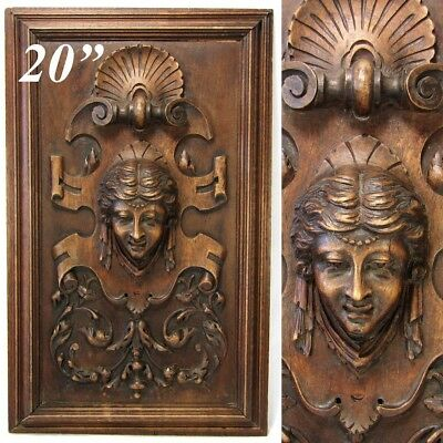 Victoriano Antiguo Madera Tallada 52.1cm Furniture o Armario Panel,Placa,Figural