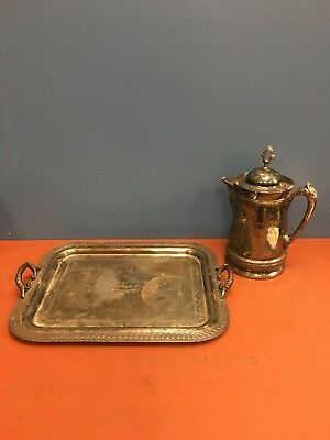 Antique 1868 Meriden B Company Silverplate Tea Pot Water Pitcher Tray Ornate Vtg