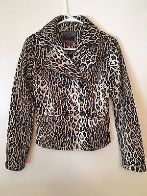 best website top design search for official DOLLHOUSE WOMEN'S ANIMAL Print Double Breasted Lined Peacoat Size S