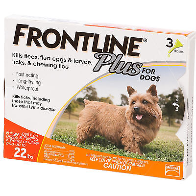 Frontline Plus for Dogs Puppy Flea Tick Control Spot On 3 Doses 0-22 Pounds