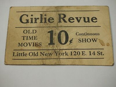 Girlie Revue Old Time Movies 10 Cents Little Old New York Advertising Card