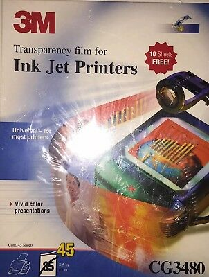 3M Transparency Film HP Color Ink Jet Printers 45 Sheets CG3460