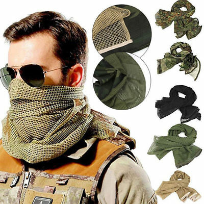 Camo Tactical Mesh Scarf Scrim Military Sniper Face Veil Hunting Head Neck Wrap