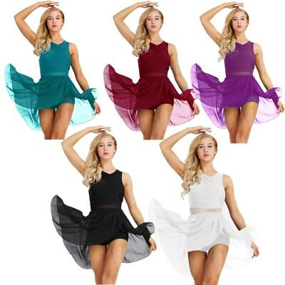 Women Girls Sexy Cut Out Chiffon Asymmetric Dress Sleeveless Leotard Dance Dress