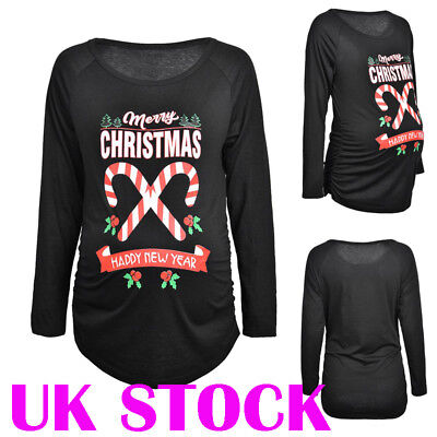 f49b5c1d050 UK Women Maternity Christmas Print Loose Top T-shirt Long Sleeve Blouse  Pullover