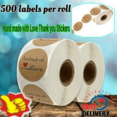 500 pcs Hand made with Love Thank you Stickers Seals Scrapbook DIY Craft Lables