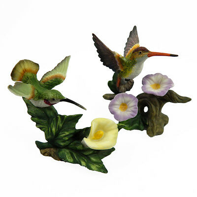 Hummingbird Figurines Set of 2 with Flowers Porcelain Yellow Lavendar