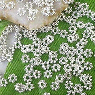 1000Pc Charm Silver Plated Metal Daisy Flower Hollow Loose Beads 4mm DIY Jewelry