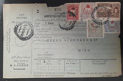RARE 1916 Turkey Consignment Card ties 5 stamps canc Constantinople