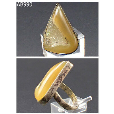 Old Near Eastern Islamic Agate Stone Silver Mix Ring Us Size 6 #990