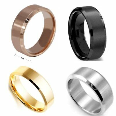 8mm Stainless Plain Wedding Band Ring Size 5-14 Black/Gold/Silver/Rose Ring UK