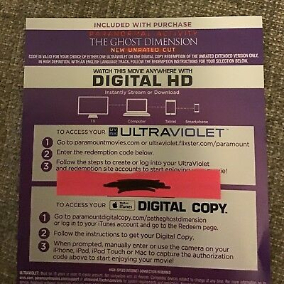 Paranormal Activity: The Ghost Dimension - HD Digital Code (HD, 2016) No Discs!!