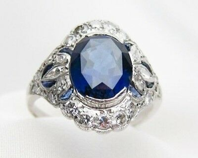 Certified 2.1Ct Oval Cut Blue Diamond 14K Solid White Gold Art Deco Vintage Ring