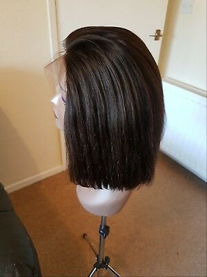 12inche 100% Brazilian human hair bob wig natural colour. Lace front closure.