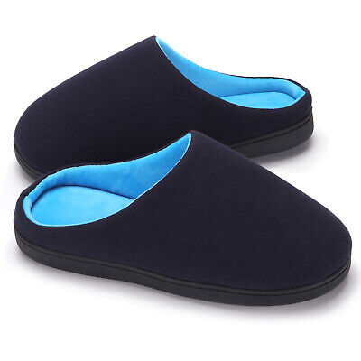 Men's Comfy Fuzzy Knit Cotton Memory Foam House Shoes Slippers w/Indoor Outdoor