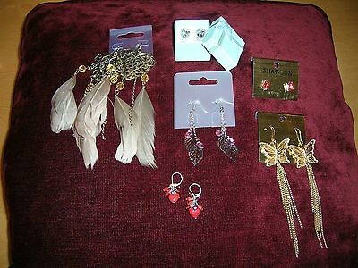 Job Lot Earrings 6 Pairs Costume Jewellery Long Dangling Studs Gold Red Crystal