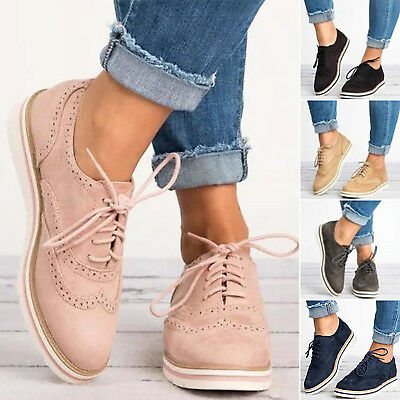 Womens Flats Low Heels Shoes Flatform Brogues Ladies Lace Up Trainers Shoes Size