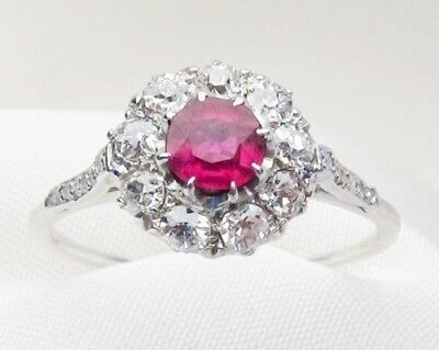 Certified 2.30Ct Round Pink Diamond 14K White Gold Halo Art Deco Engagement Ring