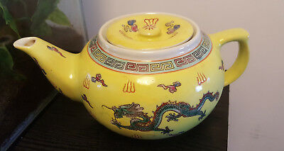 Chinese Yellow Teapot With Dragon Decoration.