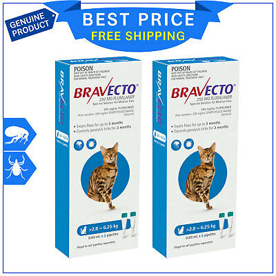 BRAVECTO Spot ON For Cats 4 Pipettes 2.8 to 6.25 Kg Blue Tick Flea Prevention