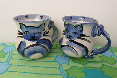 Blue & White Cats Mugs Pair of 2  - Hand Made by Henri Cairns Australia
