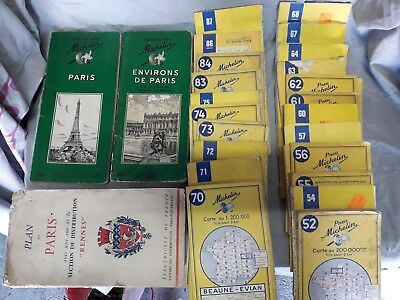 LOT de 22 anciennes cartes Michelin+ 3 plans Paris