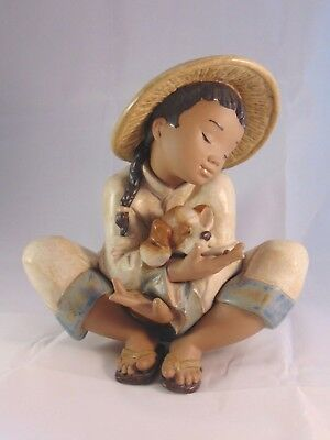 Lladro 2226 Chinese Boy With Puppy Gres Boy's Best Friend