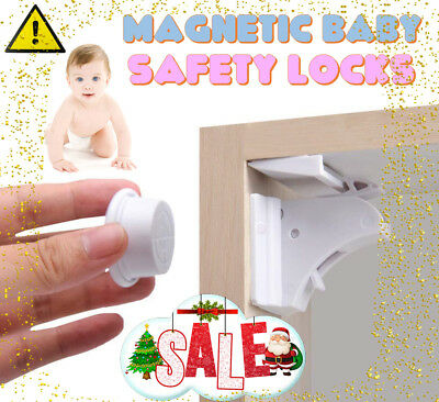 XMAS Invisible MAGNETIC BABY SAFETY Locks Child Pet Proof Cupboard Door Drawer