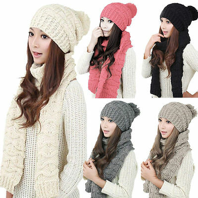 Women Warm Winter Knitted Ski Cap Hat+Scarf Beanie Crochet Neck Warm Wrap Set AU