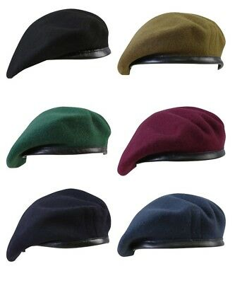 6052db1a British Army Beret 100% Wool Soldier Cadet Maroon RAF Military Blue Marine  Green