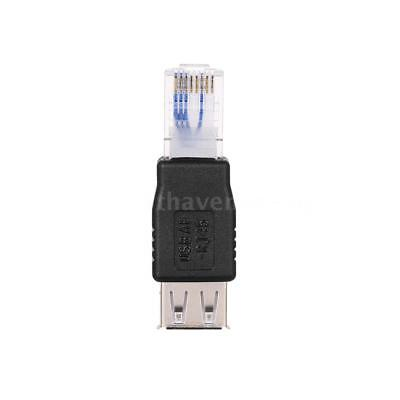 USB A Female to Ethernet RJ45 Male Adapter Converter Router Connector Plug G8S1